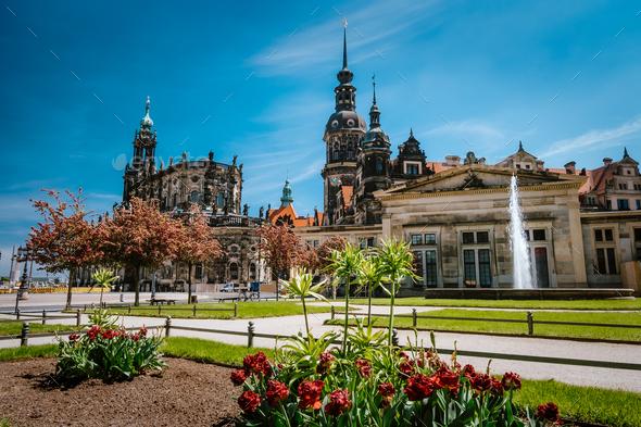 Dresden, Germany. Spring scene in historical cityscape, residence kings of Saxony Dresden Castle - Stock Photo - Images