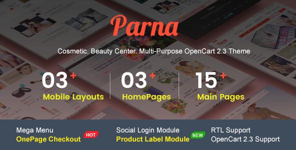 Parna – Multipurpose Responsive OpenCart 2.3 Theme | Cosmetic | Beauty Center | Fashion Store