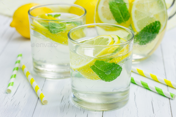 Homemade lemonade with fresh lemon and mint - Stock Photo - Images