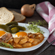 Beans with smoked pork meat, eggs and pickles - PhotoDune Item for Sale