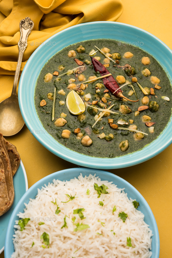 Chickpea Spinach Curry or Palak Chole Sabzi, Indian food - Stock Photo - Images