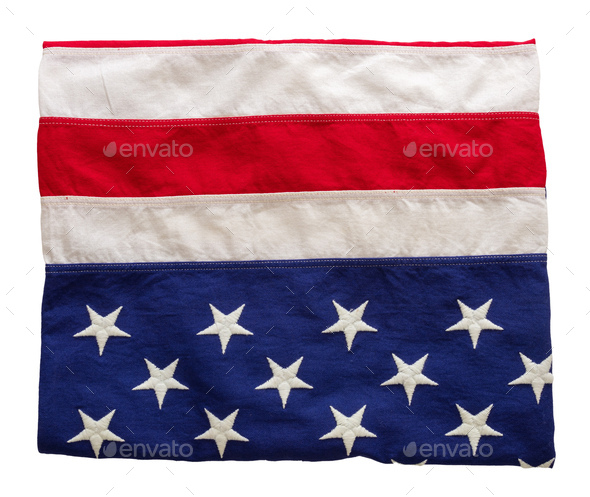 USA flag, US of America sign symbol isolated on white background, top view - Stock Photo - Images