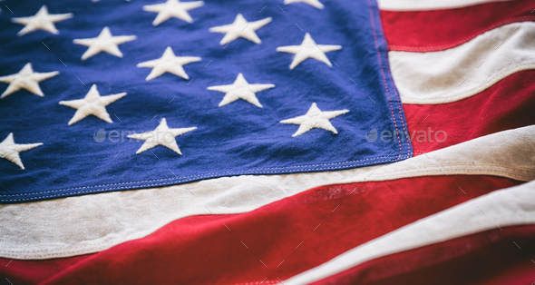 USA flag, US of America sign symbol background, closeup view - Stock Photo - Images