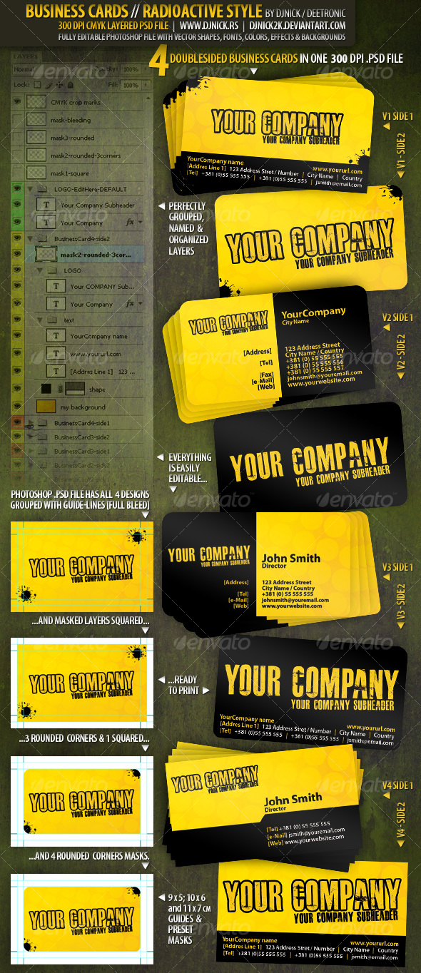 Radioactive Business Cards 300 dpi CMYK by djnick - Grunge Business Cards