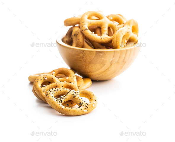 Crispy salted pretzels. - Stock Photo - Images