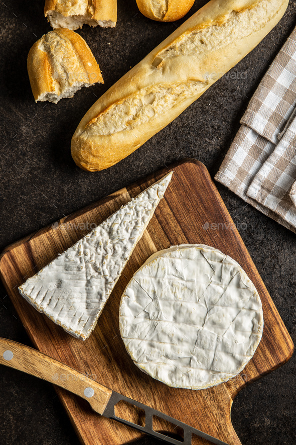 Brie cheese. White soft cheese with white mould. - Stock Photo - Images