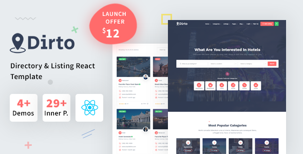 Dirto - Classified Directory & Listing React Template