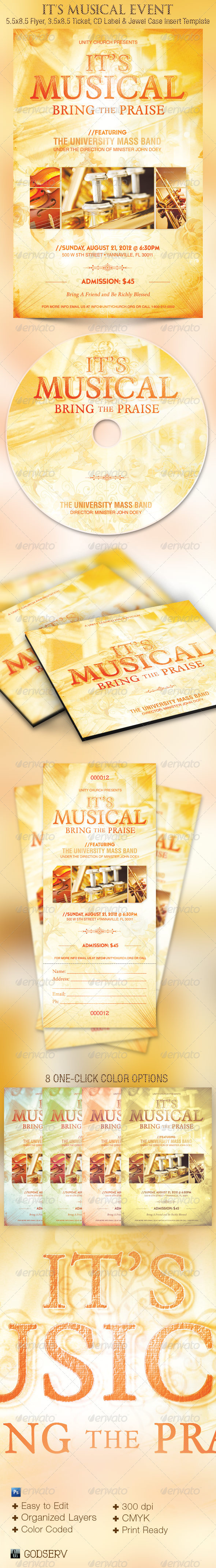 Musical Event Flyer Ticket CD Template - Church Flyers