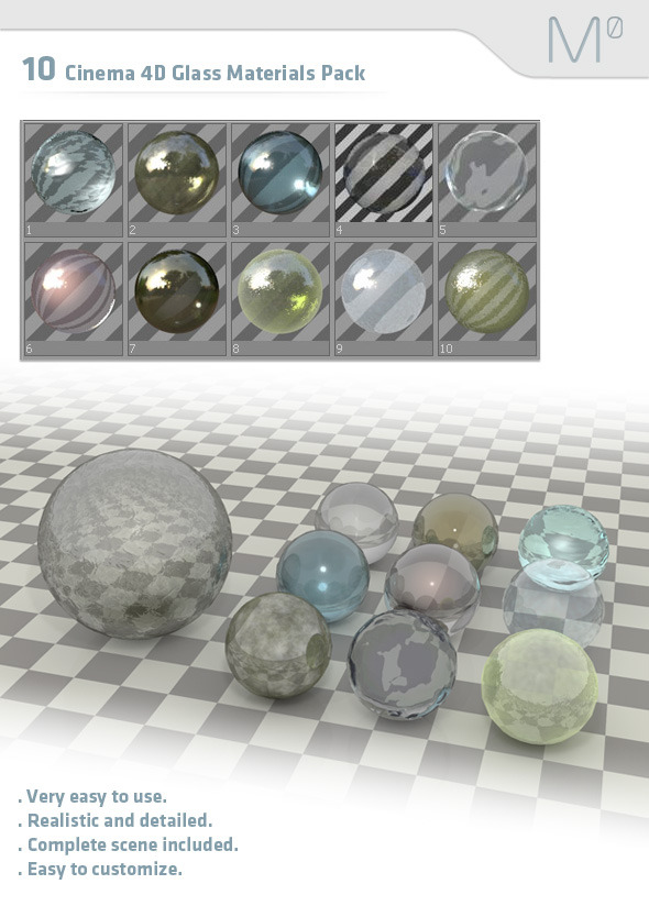 10 Cinema 4D Glass Pack - 3DOcean Item for Sale