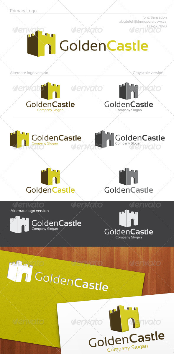 Golden Castle Logo - Buildings Logo Templates