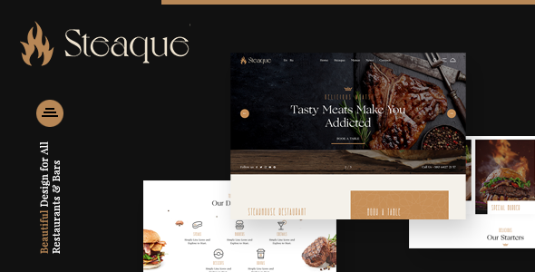 Steaque | Steak House and Coctail Bar HTML Template