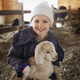 A child in the animal shed holding and stroking a baby goat. - PhotoDune Item for Sale