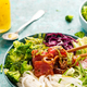 Colorful Bowl with Raw Tuna Fish, Rice Noodles and Variety of Fresh Vegetables - PhotoDune Item for Sale