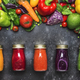 Food and drink background. Colorful vegan vegetable juices and smoothies - PhotoDune Item for Sale