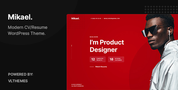 Mikael – Modern & Creative CV/Resume WordPress Theme