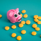 Piggy bank surrounded by coins - PhotoDune Item for Sale
