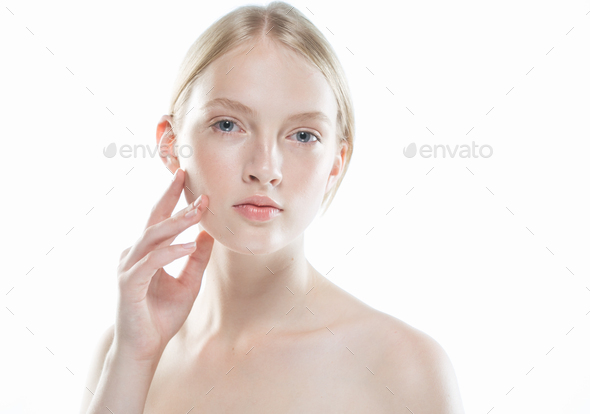 Beautiful woman young modelpure healthy skin - Stock Photo - Images