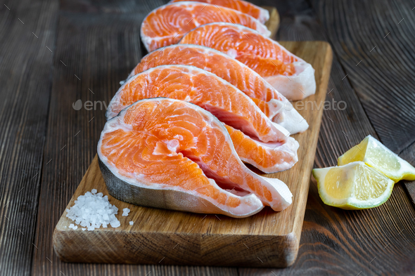 Steaks of Arctic char - Stock Photo - Images