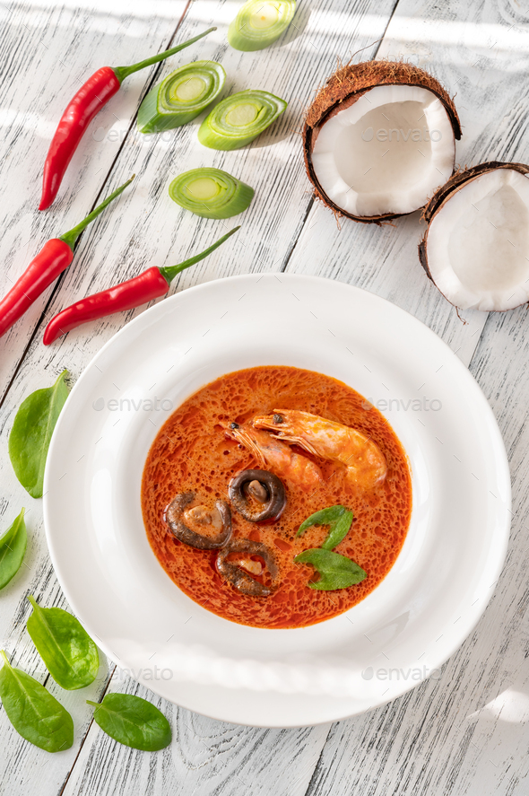 Portion of Tom Yum soup - Stock Photo - Images