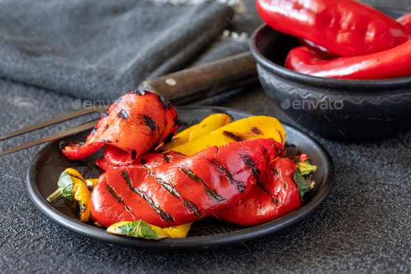 Grilled bell peppers - Stock Photo - Images