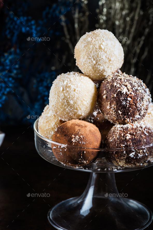 Various Homemade Raw Vegan Truffles or Energy Balls - Stock Photo - Images