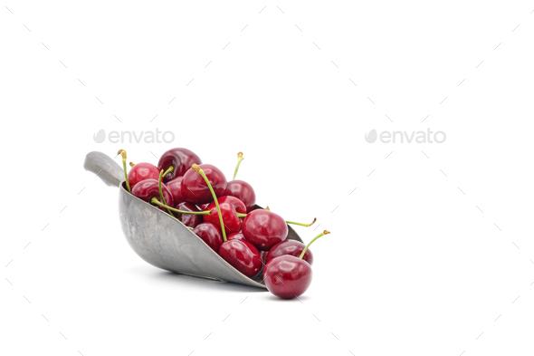 Scoop of Cherries - Stock Photo - Images