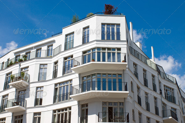 New white townhouse - Stock Photo - Images