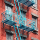 Blue fire escape in New York City. - PhotoDune Item for Sale