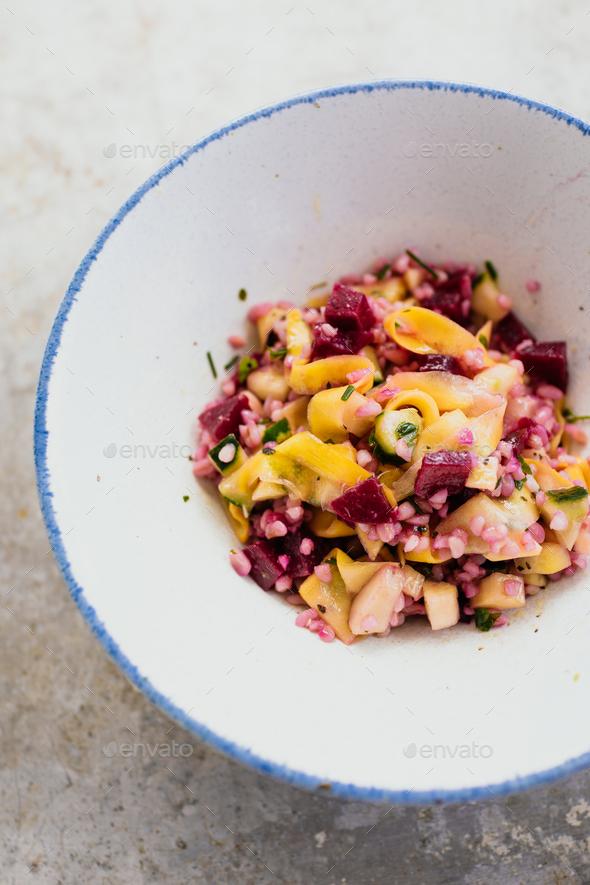 Quinoa, zucchini, beetroot and cucumber salad - Stock Photo - Images