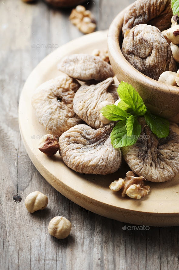 Concept of healthy dessert with figs and nuts - Stock Photo - Images