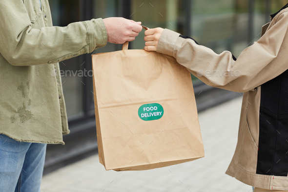Delivering food to client - Stock Photo - Images