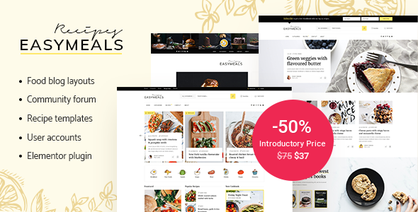 Download EasyMeals – Food Blog WordPress Theme Free Nulled
