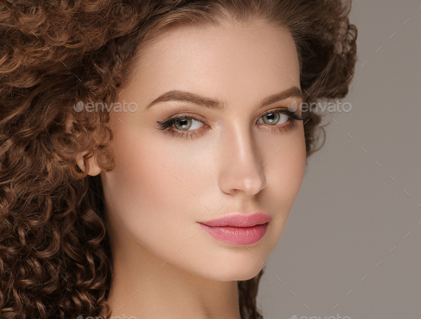 Beautiful hair woman long curly hairstyle female model glamour portrait - Stock Photo - Images