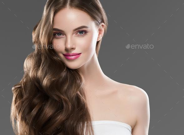 Long hair woman beautiful face healthy hair - Stock Photo - Images