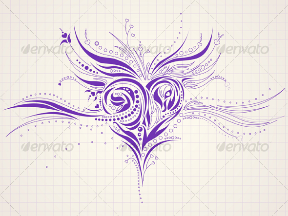 Drawing Lines In Keynote : Hand drawn heart doodle by silvertiger graphicriver