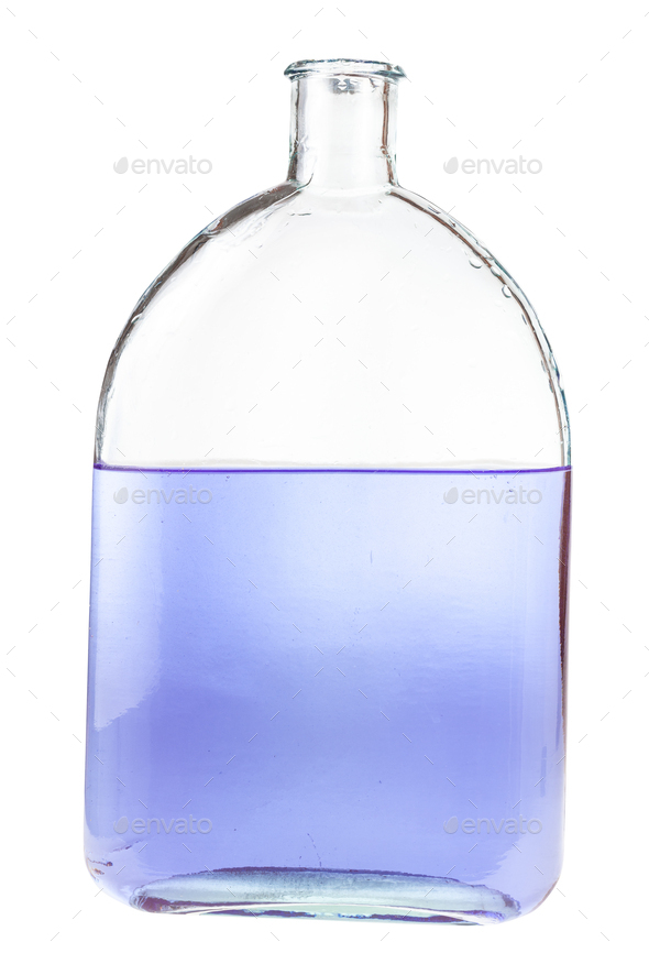 violet ink solution in water in flask isolated - Stock Photo - Images