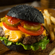 Homemade Cheeseburger with a Black Charcoal Bun - PhotoDune Item for Sale