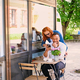 Couple drinks coffee in a cafe. - PhotoDune Item for Sale