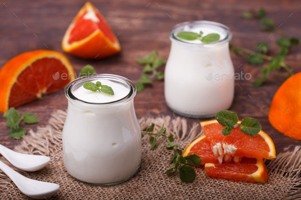 Yogrut in a jar,homemade.Healthy breakfast concept - Stock Photo - Images