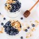 Homemade yoghurt with blueberry,almond and honey.Healthy breakfast concept - PhotoDune Item for Sale
