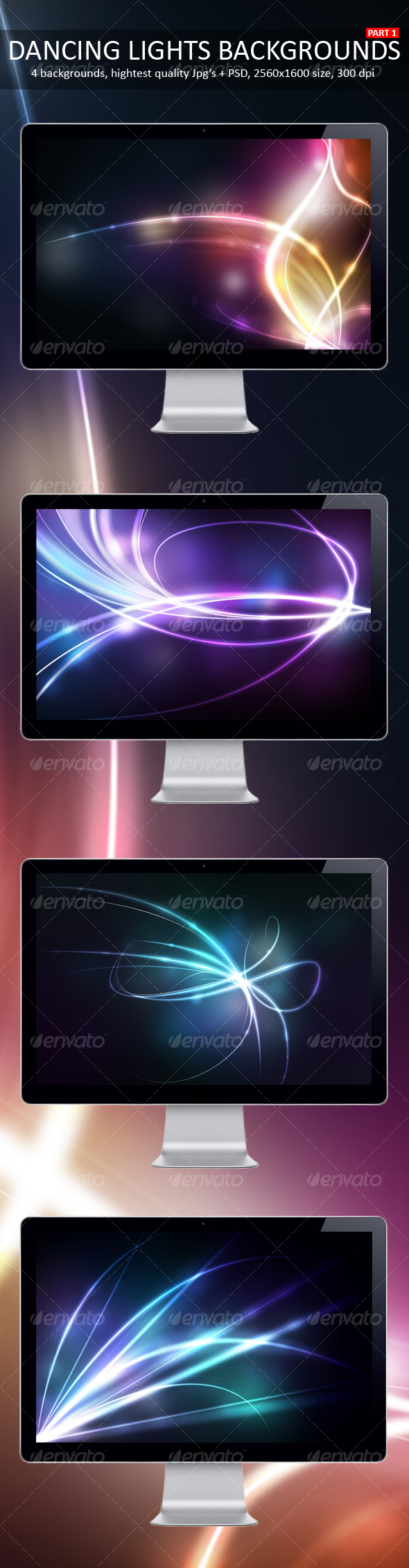 Dancing Lights Backgrounds Part 1 - Backgrounds Graphics