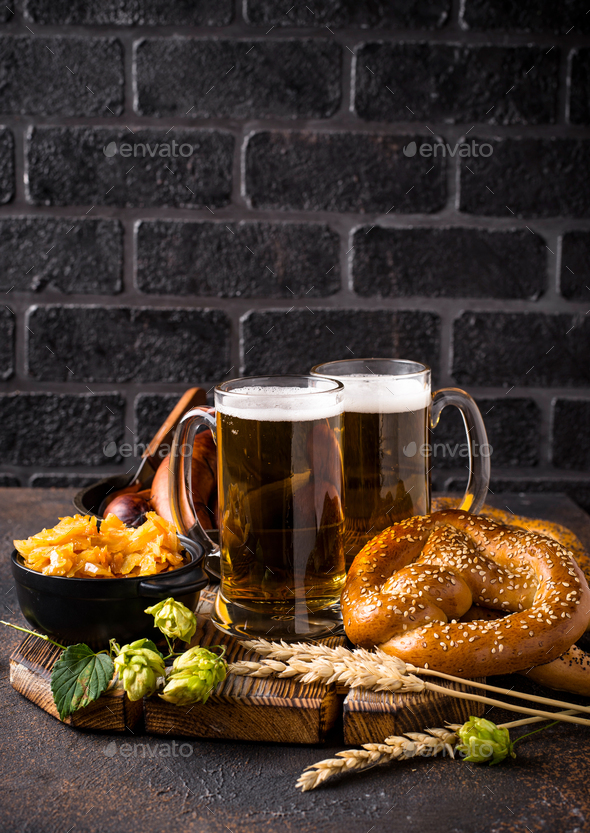 Beer, pretzels and Bavarian food - Stock Photo - Images