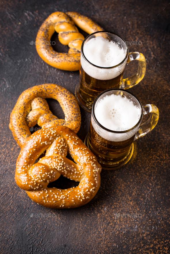 Beer and pretzels. Oktoberfest concept - Stock Photo - Images
