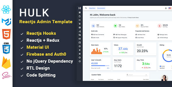 Hulk - Reactjs Redux Material UI Admin Template