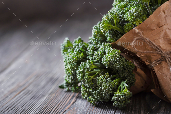 Closeup View on Broccolini. - Stock Photo - Images