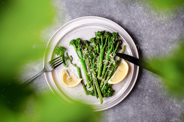 Roasted Broccolini on the Plate. - Stock Photo - Images