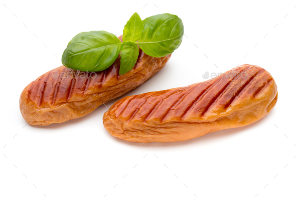 Pork sausage isolated on white background. - Stock Photo - Images
