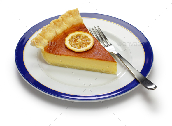 homemade lemon buttermilk pie - Stock Photo - Images