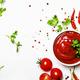 Spicy tomato ketchup sauce with herbs, chili and cherry tomatoes in bowl - PhotoDune Item for Sale