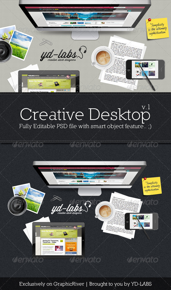 Creative Desktop - Miscellaneous Product Mock-Ups